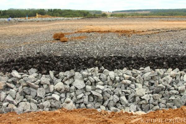 Щебень при строительстве дорог