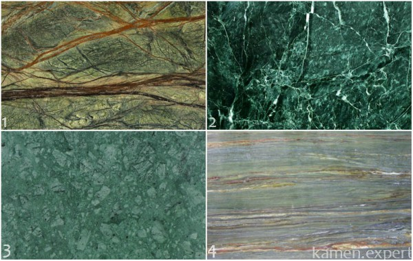 Виды зеленого мрамора