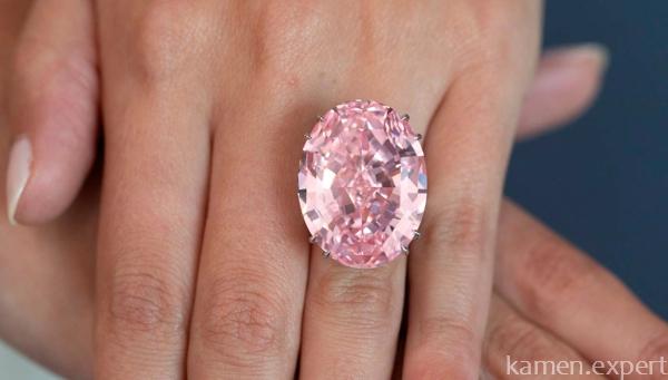 Овальный розовый камень в кольце