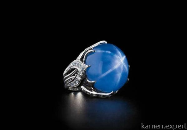 Перстень с синим звездчатым камнем