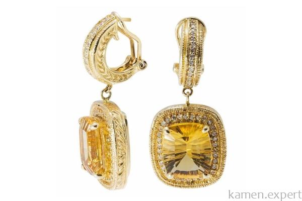 Серьги с золотистыми минералами