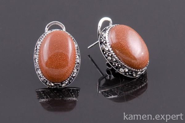 Серьги с коричневыми камнями