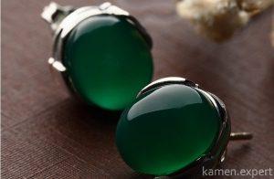 зеленый агат серьги