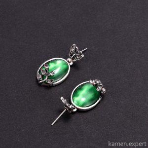 зеленый опал серьги